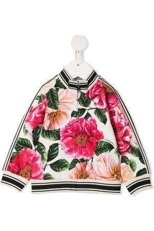 Dolce & Gabbana Hoodies - Floral-print zip-up sweatshirt