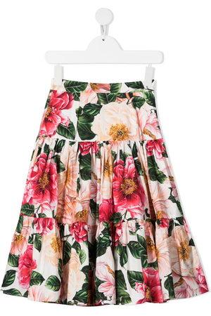 Dolce & Gabbana Girls Printed Skirts - Floral print tiered skirt