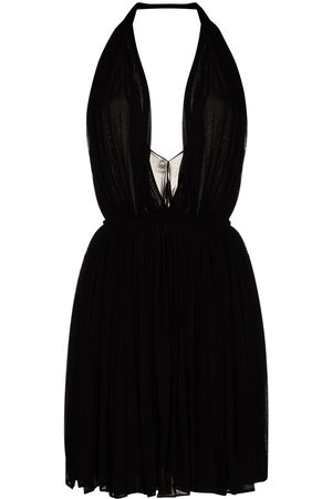 Saint Laurent Women Halterneck Dresses - Halterneck pleated mini dress