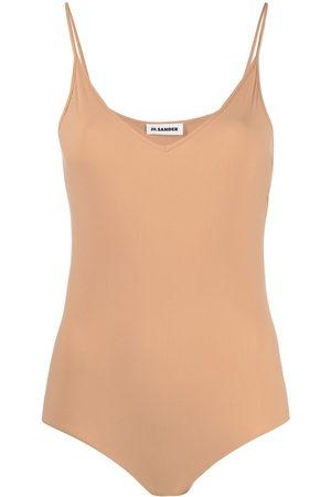 Jil Sander Women Tank Tops - V-neck sleeveless bodysuit