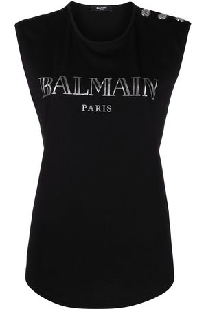 Balmain Women Vests - Logo-print vest top