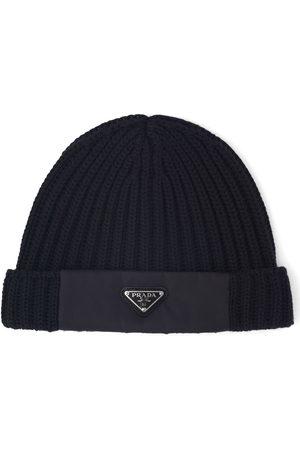 Prada Logo rib-knit beanie hat