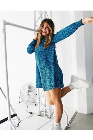 New Look Frill bib mini smock dress in animal