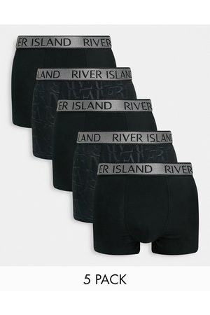 River Island 5 pack mono print trunks in