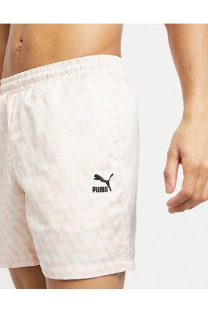 PUMA Summer luxe 6inch satin aop shorts in