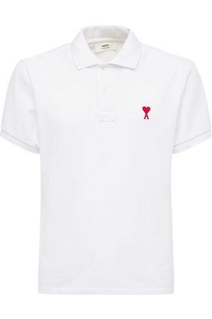 Ami Embroidered Logo Cotton Pique Polo