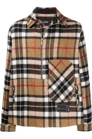 We11 Done Checked half-zip wool shirt