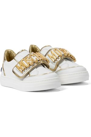 Moschino Kids Embellished leather sneakers