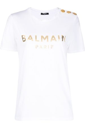 Balmain Metallic-logo button-embellished T-shirt