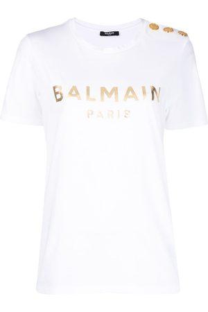 Balmain Women Short Sleeve - Metallic-logo button-embellished T-shirt
