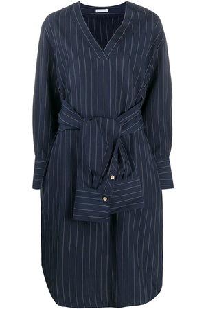 12 STOREEZ Striped shirt-detail dress