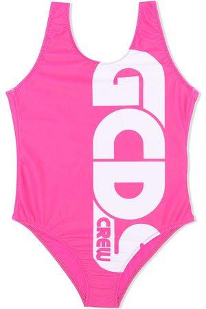 Gcds Kids Girls Swimsuits - Logo-print low-back swimsuit