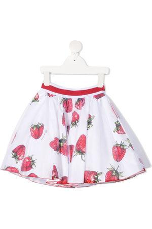 MONNALISA Strawberry-print cotton skirt