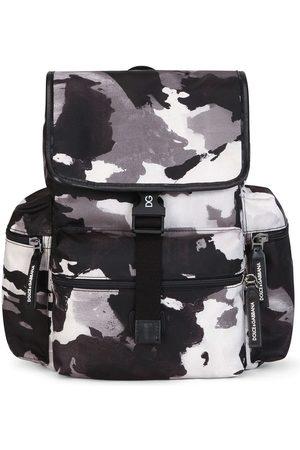 Dolce & Gabbana Kids Boys Rucksacks - Camouflage-pattern buckled backpack