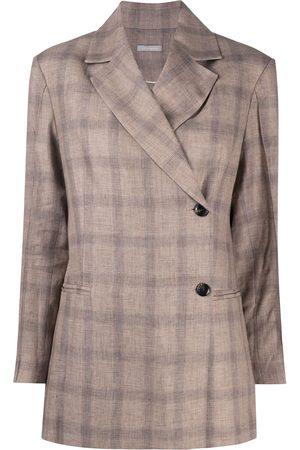 12 STOREEZ Asymmetric check print blazer