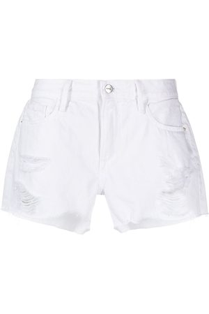FRAME Women Shorts - Ripped-detail cotton denim shorts