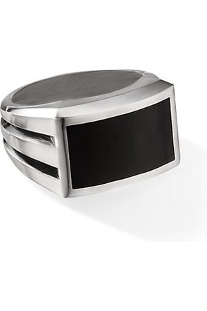 David Yurman Beveled Streamline Sterling & Black Onyx Signet Ring