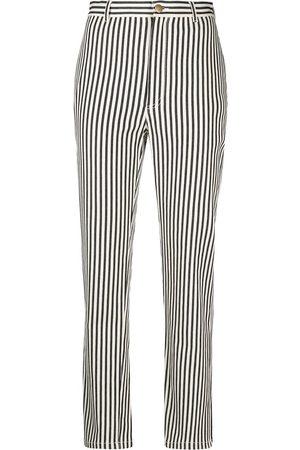 Serafini Women Trousers - Vertical-stripe cropped trousers