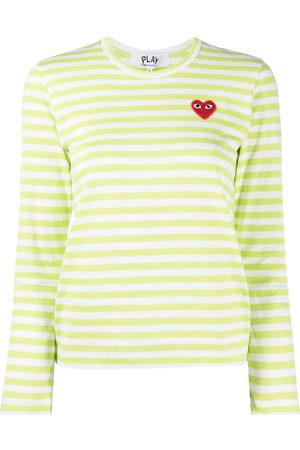 Comme des Garçons Striped embroidered heart top