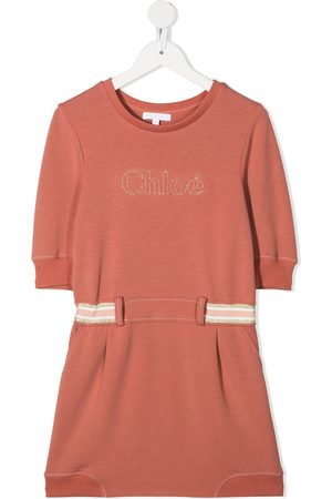 Chloé Girls Casual Dresses - Embroidered-logo side-stripe dress