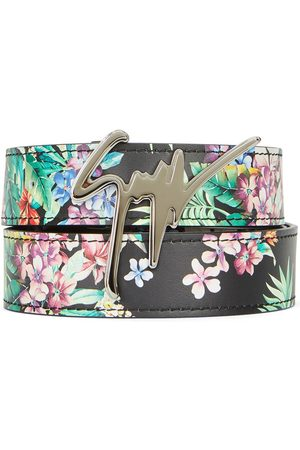 Giuseppe Zanotti Men Belts - Floral logo buckle belt