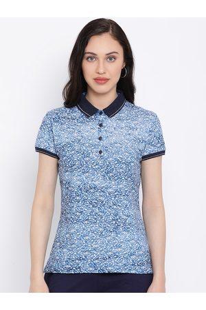 Monte Carlo Women Blue Printed Polo Collar T-shirt