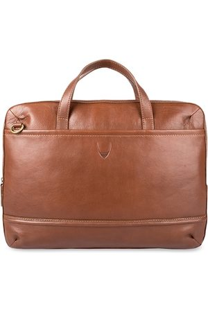 Hidesign Men Tan Solid Laptop Bag