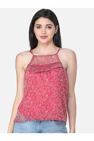 SCORPIUS Women Pink Self Design Fitted Top