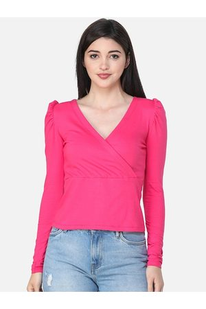 SCORPIUS Women Pink Solid Wrap Top