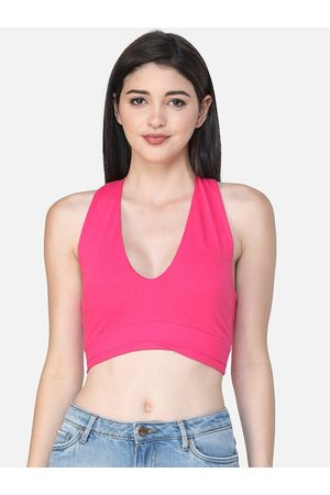 SCORPIUS Women Pink Solid Crop Fitted Top