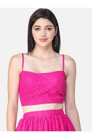 SCORPIUS Women Pink Self Design Fitted Crop Top
