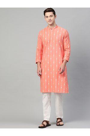 See Designs Men Peach-Coloured & White Printed Pure Cotton Straight Kurta