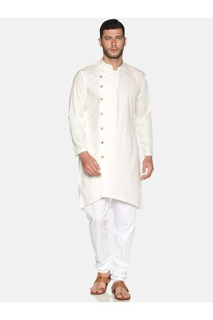 Sethukrishna Men Cream-Coloured & White Solid Cotton Kurta with Churidar