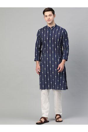 See Designs Men Navy Blue & White Printed Pure Cotton Straight Kurta