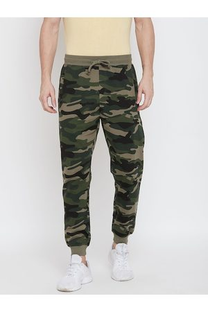 HARBORNBAY Men Olive Green Camouflage Printed Straight-Fit Joggers