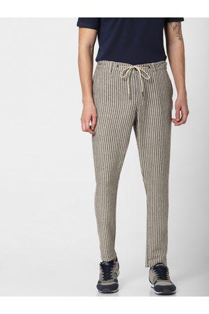 Jack & Jones Men Grey & White Slim Fit Striped Regular Trousers