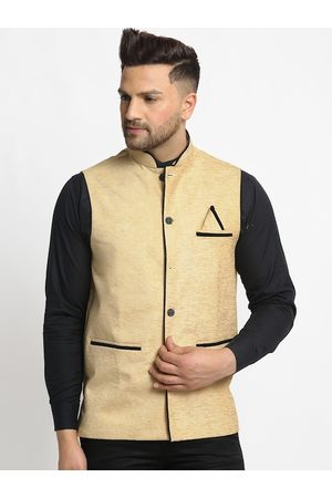 Jompers Men's Beige Solid Waistcoat with Pocket Square