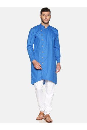 Sethukrishna Men Blue & White Solid Cotton Kurta with Churidar