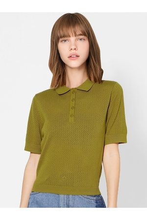 ONLY Women Olive Green Self Design Polo Collar T-shirt