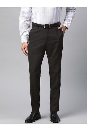 Marks & Spencer Men Black Slim Fit Self-Striped Formal Trousers