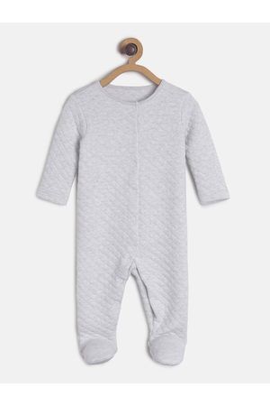 MINI KLUB Infant Girls Grey Quilted Sleepsuit