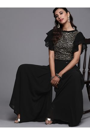 Inddus Women Black & Golden Embroidered Top with Palazzos