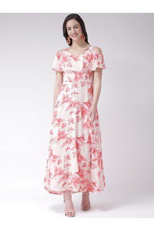 Latin Quarters Women Pink & White Floral Printed Maxi Dress