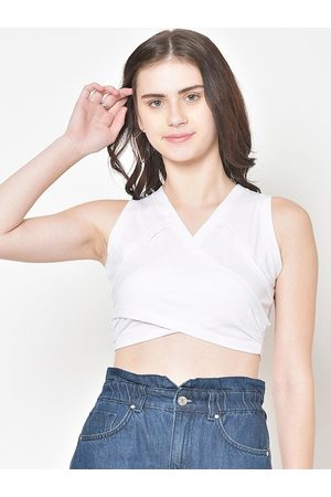 Cation Women White Solid Fitted Crop Top