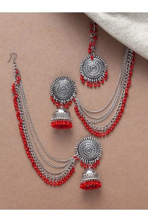 Shining Diva Oxidized Silver-Toned & Red Beaded Jewellery Set