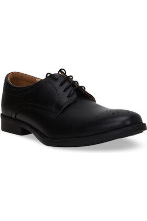 Bata Men Black Solid Leather Formal Derbys