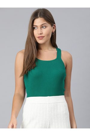 ONLY Women Green Ribbed Square Neck Tank Top