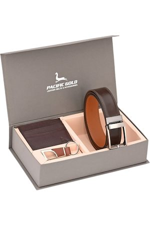 Pacific Gold Men Brown & Silver-Toned Genuine Leather Accessory Gift Set