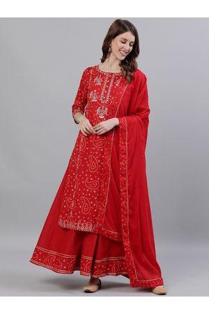 Ishin Women Red Embroidered Kurta with Sharara & Dupatta