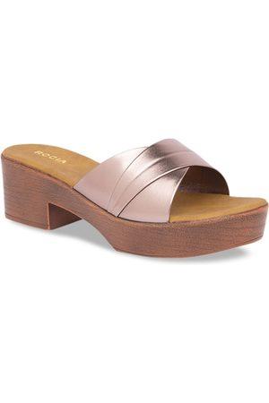 Rocia Women Gunmetal-Toned Textured Block Heels